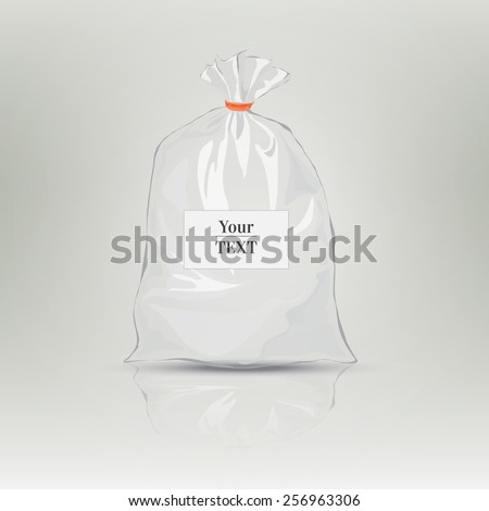 Transparent bag for package design. Plastic packaging. Monochrome vector illustration. Blank white bag with place for your design. Sketch style. Isolated background with shadow - stock vector