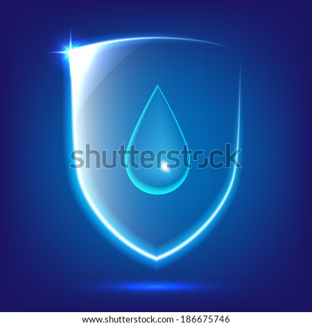 Transparent blue glass shield icon with water drop - stock vector