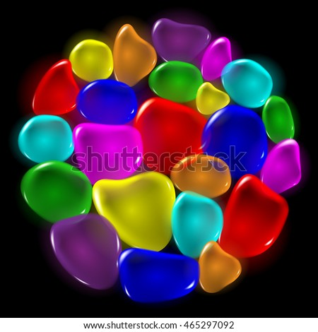 Transparent color drops on black background. Vector.