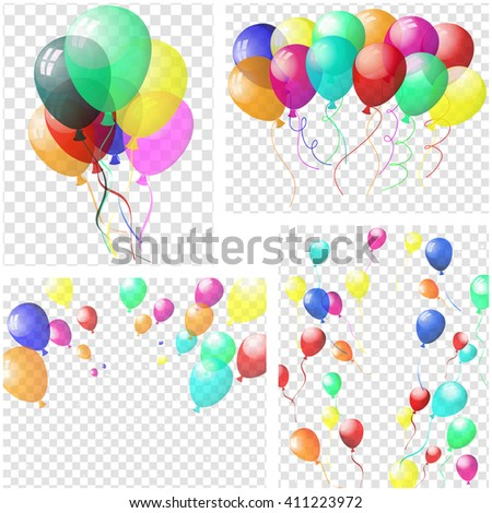 Transparent colorful balloons in air on gray grid background. Vector illustration.
