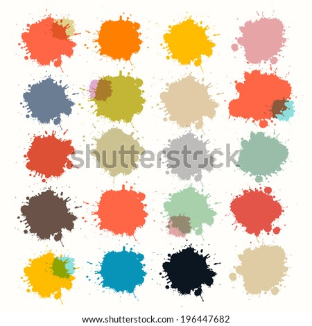 Transparent Colorful Retro Vector Stains, Blots, Splashes Set  - stock vector
