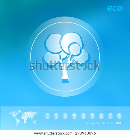 Transparent ecology  icon on the blurred  background. Forest tree. Vector illustration - stock vector