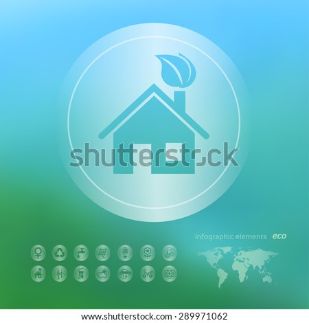 Transparent ecology  icon on the blurred  background.  Green house. Vector illustration - stock vector