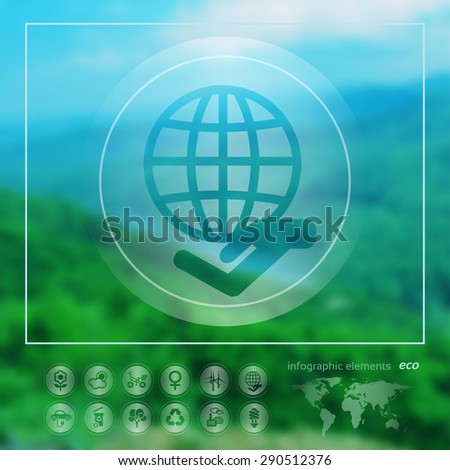 Transparent ecology  icon on the blurred photo background. Globe and hand. Vector illustration - stock vector