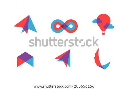 transparent flat vector symbols for branding - stock vector