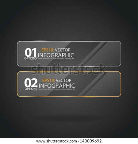 Transparent framework glass plates, banner with gold and silver colors. - stock vector