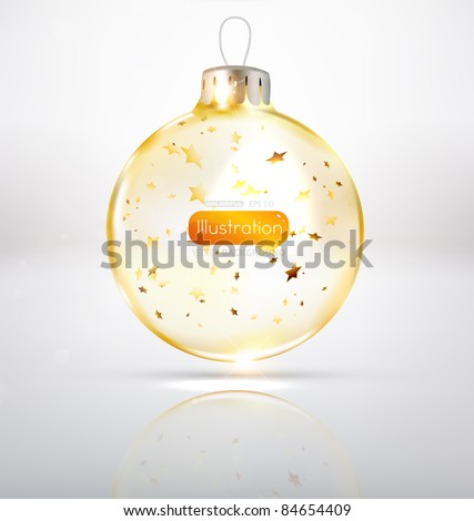 Transparent glass Christmas Ball with golden stars - stock vector