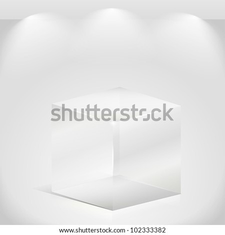 Transparent glass cube, vector eps10 illustration - stock vector