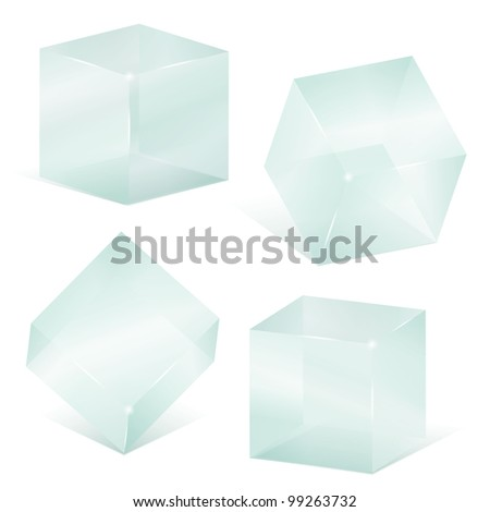 Transparent glass cubes, vector eps10 illustration - stock vector