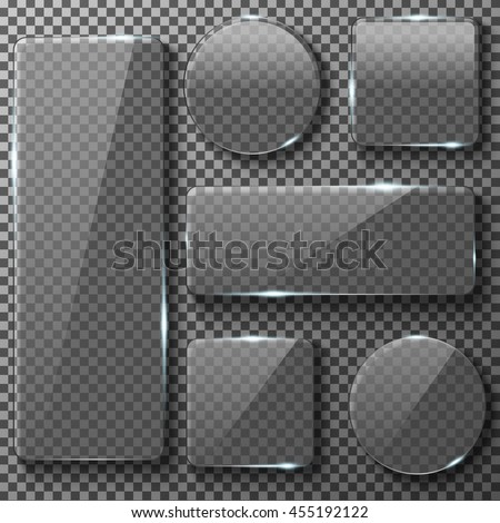 Transparent glass plates of different shapes. Square, circle, rectangular app buttons on checkered background. Blank empty, shiny and glossy. Vector illustration icons set. - stock vector