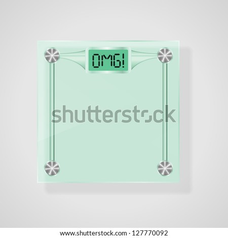 Transparent Glass Scales With OMG! Text. Weight Loss Concept. Vector, eps10 - stock vector