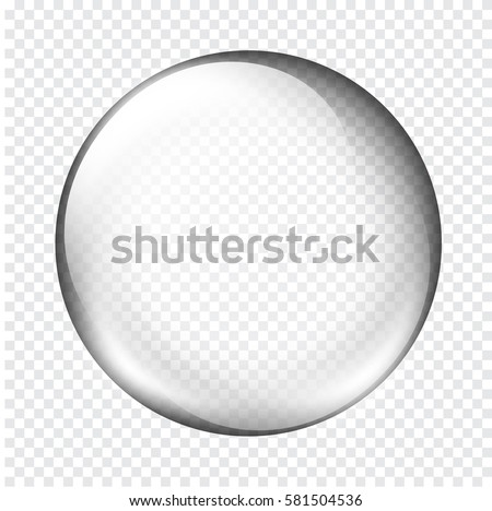 Transparent glass sphere with glares and highlights. White pearl, water soap bubble, shiny glossy orb. Vector illustration with transparencies, gradient and effects for your design and business