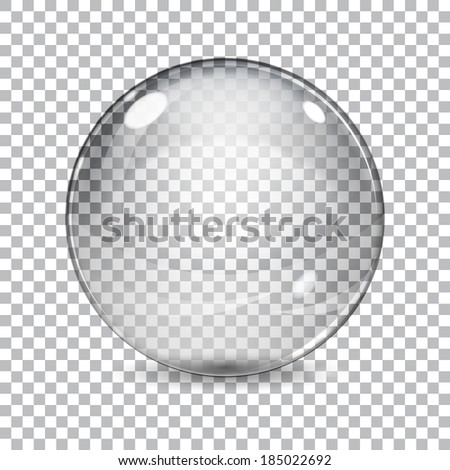Transparent  glass sphere with shadow on a plaid background - stock vector