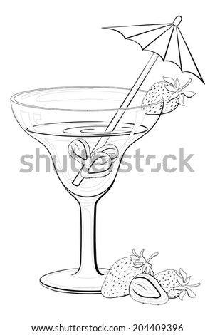 Transparent glass with drink, strawberries berries and straw with umbrella, black contours isolated on white background. Vector - stock vector