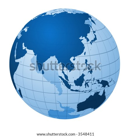 Transparent globe focused on Asia - stock vector