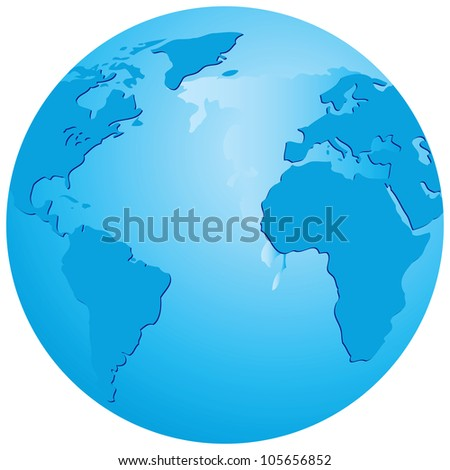 Transparent globe with an emphasis on the Atlantic Ocean. Vector illustration.