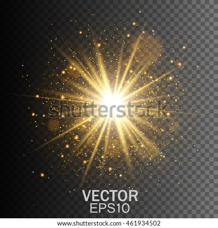 Transparent glow light effect. Star burst with sparkles. Gold glitter