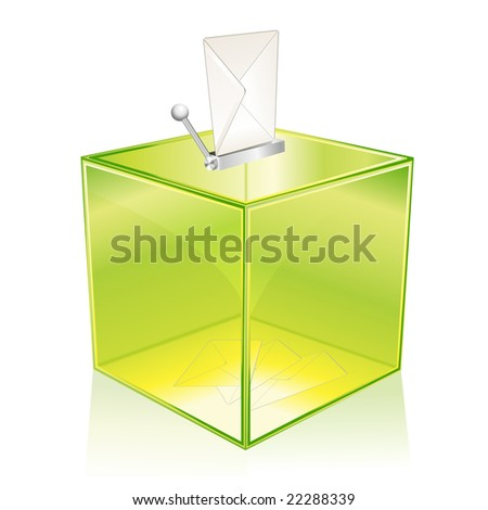 Transparent green ballot box, for your vote - stock vector