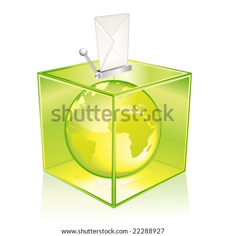 Transparent green ballot box, vote for the Earth - stock vector