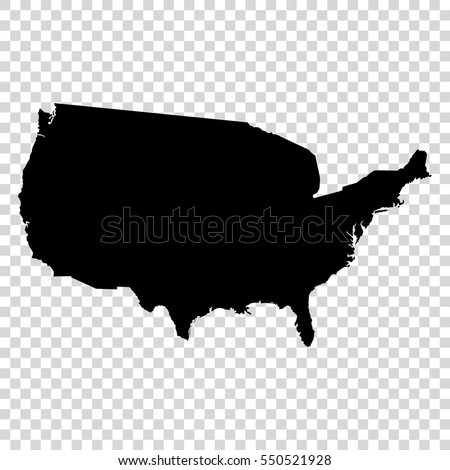 Transparent High Detailed Black Map United Stock Vector 550521928