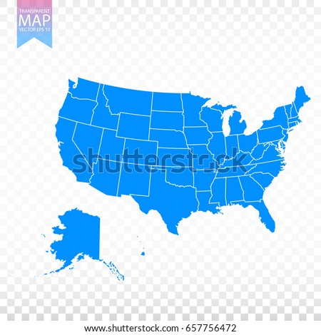 Transparent High Detailed Blue Map United Stock Photo Photo Vector