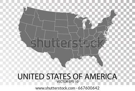 transparent high detailed grey map of united states of america vector eps 10