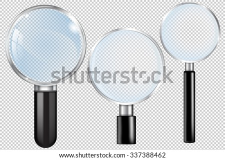 Transparent Magnifying glass. Vector Illustration isolated on transparent background. - stock vector