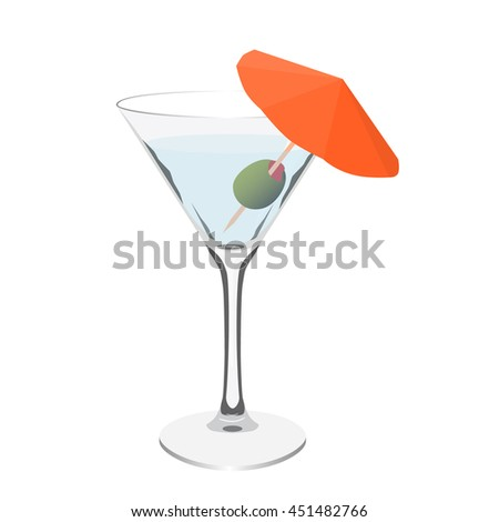 transparent martini glass cocktail realistic isolated vector illustration - stock vector