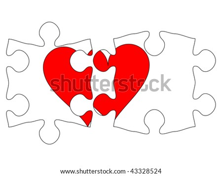 Transparent puzzle with heart - stock vector