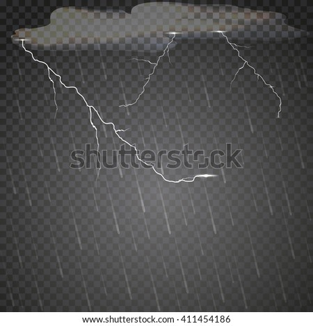 Transparent rain and lightning. Vector pattern rainy cloudy weather.