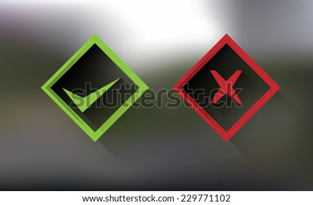 transparent right, wrong square sign symbol set - stock vector