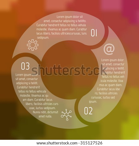 Transparent round infographic diagram on blurred background. Circular connected chart with 3 options. Paper progress steps for tutorial. Business concept sequence banner. EPS10 workflow layout. - stock vector