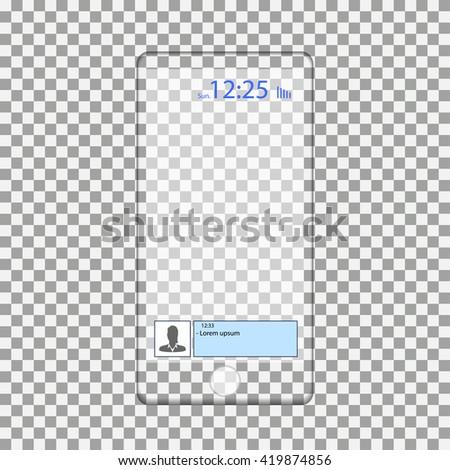 transparent smartphone. Transparent smartphone on a transparent background. Transparent smartphone, vector illustration. transparent iPhone - stock vector