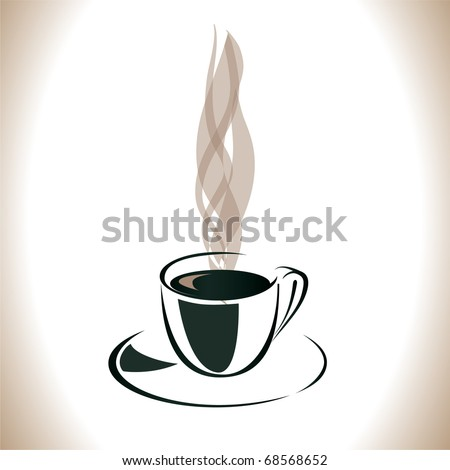 Transparent steam over a cup of coffee. Vector illustration