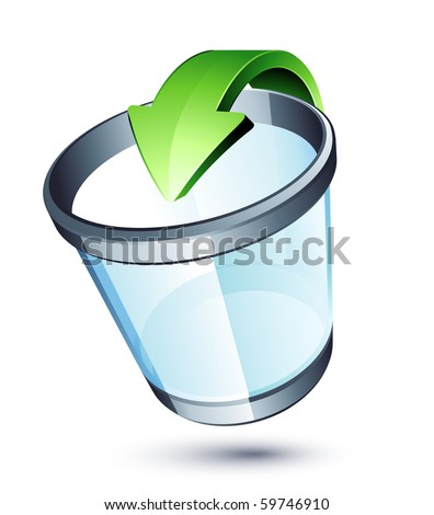 Transparent trash can and green arrow - stock vector