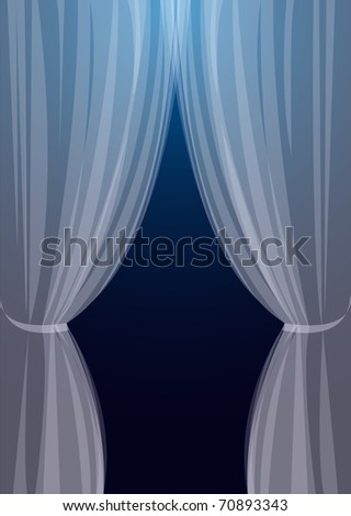 Transparent tulle on turn blue background a window