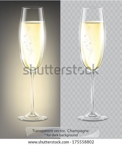 Transparent vector. Champagne glass for dark background