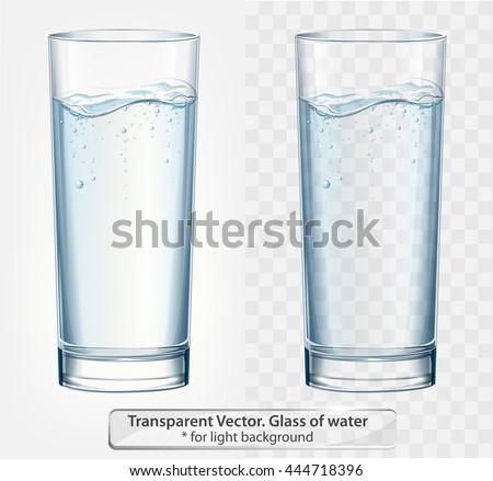 Transparent vector glass of water with fizz on light background - stock vector
