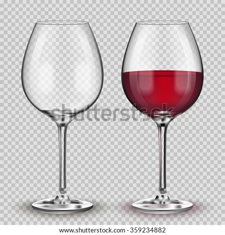 Transparent vector wineglass with red wine. - stock vector