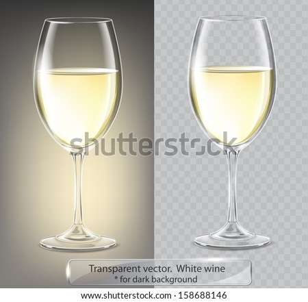 Transparent vector wineglass with white wine. For dark background - stock vector