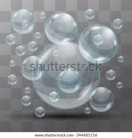 Transparent water bubbles on a black background. Isolated objects. Vector the background - stock vector