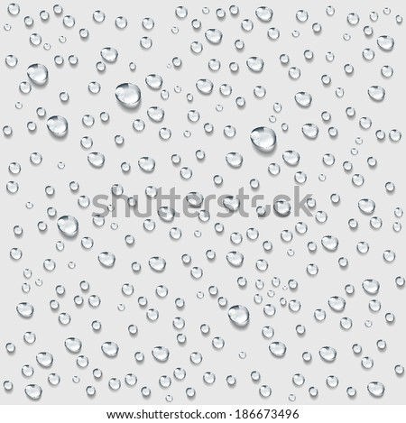 Transparent water drop background vector, rain water condensation on surface background. weather forecast.