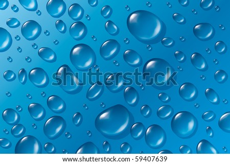Transparent Water Drops on Blue Background