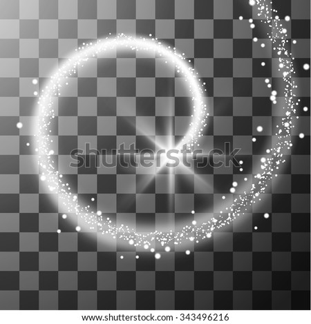 Transparent white star trail with particles. Vector effects. Eps10. - stock vector