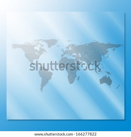 transparent world map vector at an abstract blue background