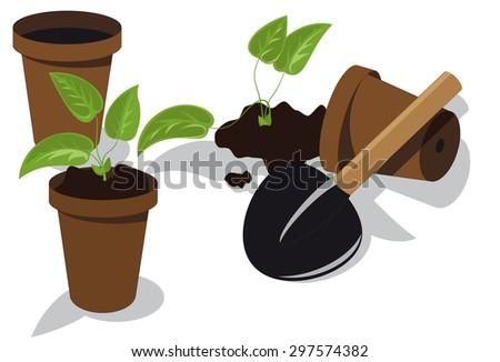 transplanting flower seedlings to individual pots - stock vector