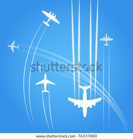 Transport and civil airplanes trajectories - stock vector