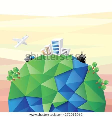 Transport and Communication concept, world geometric, vector illustration - stock vector