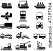Transport and special vehicles - a set of black & white vector icons, pictograms. - stock photo