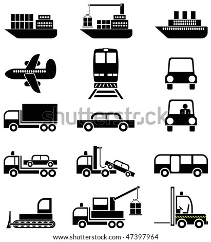 Transport and special vehicles - a set of black & white vector icons, pictograms. - stock vector